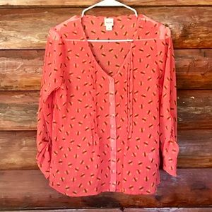 Mossimo bee print coral colored blouse